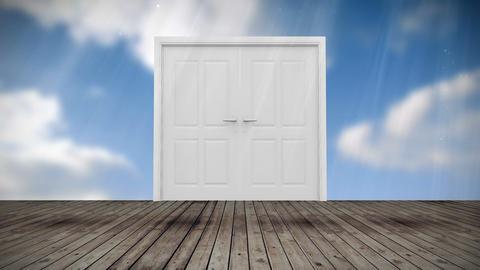 Door opening to blue sky, Stock Animation