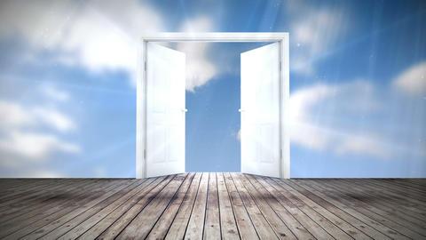 Door opening to blue sky Animation
