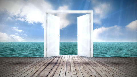 Door opening to ocean Animation