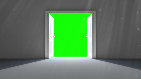 Door opening to green screen Animation