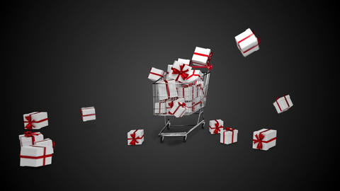 Gifts dropping in the trolley on black background Animation
