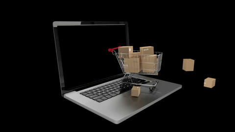 Boxes falling in trolley Animation
