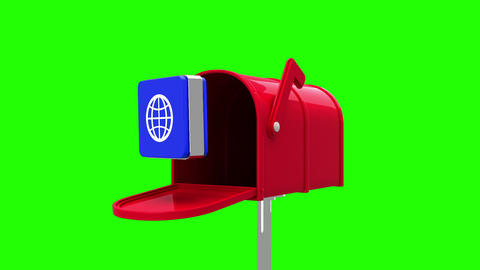 Internet icon in the mailbox on green background Animation
