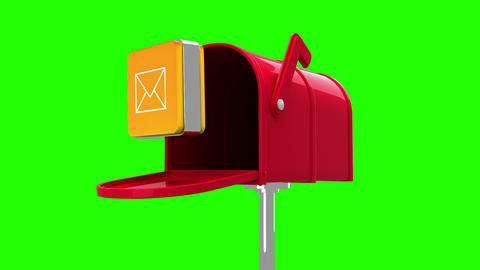 Mail icon in the mailbox on green background Animation