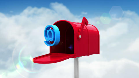 At symbol in the mailbox on cloudy background Animation