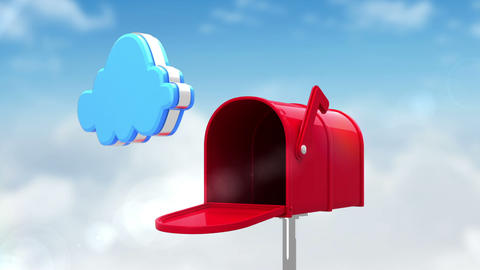 Cloud symbol in the mailbox on cloudy background Animation