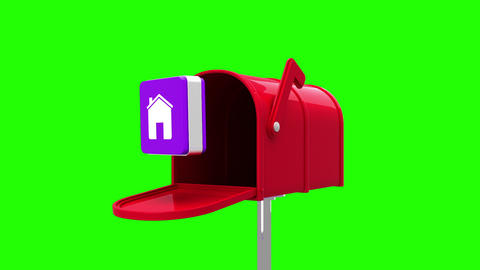 House symbol in the mailbox on green background Animation