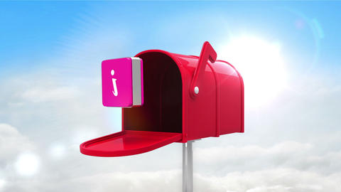 Information symbol in the mailbox on cloudy background, Stock Animation