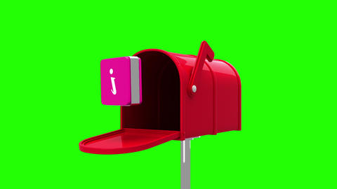 Information symbol in the mailbox on green background Animation