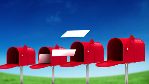 Letters coming out of the mailboxes on sky background Animation