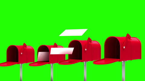 Letters coming out of the mailboxes on green background Animation
