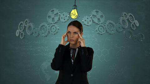Businesswoman concentrating with graphics Animation