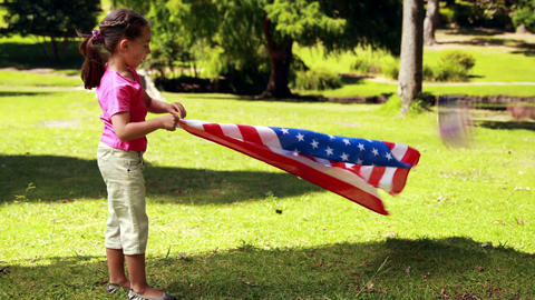 Little siblings with american flag Footage