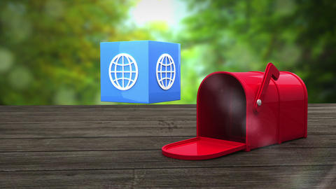 Post box opening to show at sphere icon Animation
