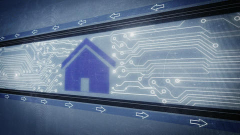 House and circuit board in pixel design Animation