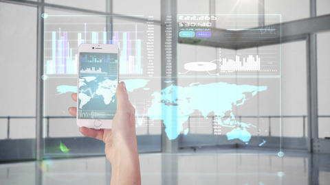 Hand using apps on smartphone Animation