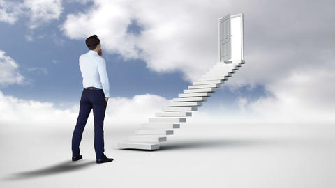 Businessman looking at stair with an opening doors in the cloudy sky Animation