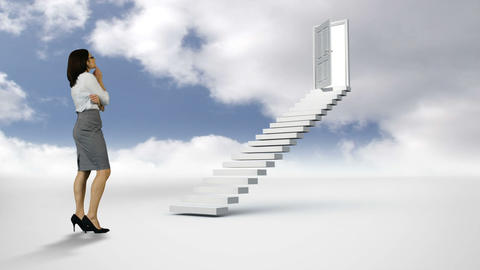Businesswoman looking at stair with an opening door in the cloudy sky Animation