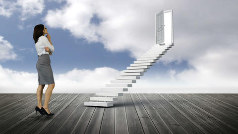 Businesswoman looking at stair with an opening door on wood ground Animation