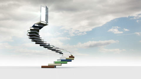 Steps made of books in the cloudy sky Animation