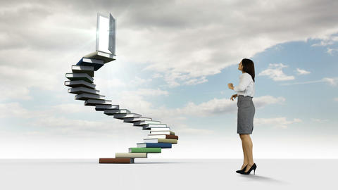 Businesswoman looking at steps made of books in the cloudy sky Animation