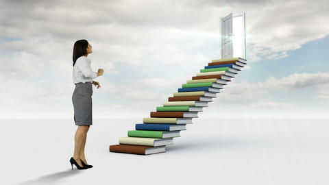 Businesswoman looking at stair made of books in the cloudy sky Animation