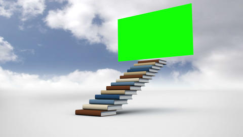 Stair made of books with a green screen in the cloudy sky Animation