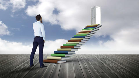 Businessman looking at stair made of books on a wood ground Animation