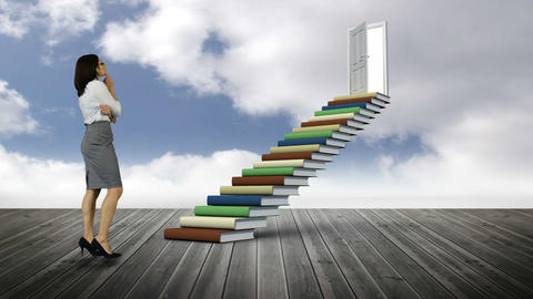 Businesswoman looking at stair made of books on a wood ground Animation