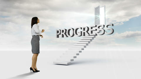 Businesswoman looking at a word put on a stair Animation