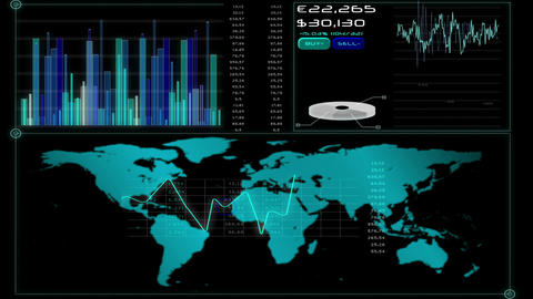 Online global business screen Animation