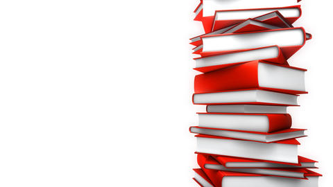 Red Books Stack on white (Loop) Stock Video Footage