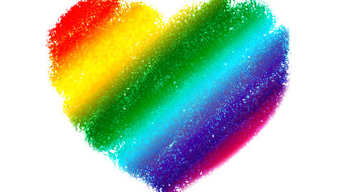 Rainbow Heart Drawing Zoom Stock Video Footage