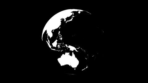 Symbolic Earth Globe Rotating on Black (Loop with Matte) Animation