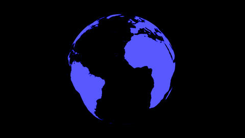 World Map Wraps to Spinning Globe (black background) Animation