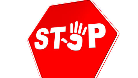 Stop - Hand Sign (Loop with Matte) Stock Video Footage