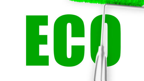 Eco Text - Roller Painting (Loop with Matte) Stock Video Footage