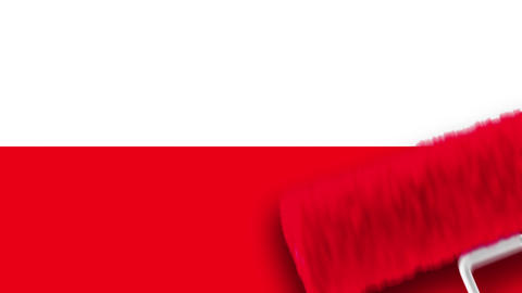 Painting Flag - Poland Stock Video Footage