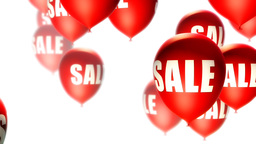 Balloons Sale Red on White (Loop) Stock Video Footage