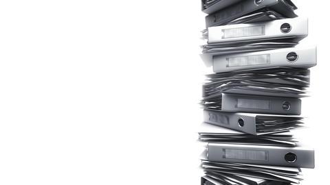 Office Binders Stack on White (Loop) Stock Video Footage