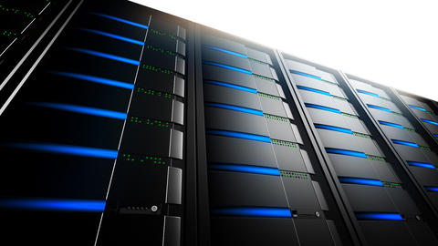 Network Servers in Line (Loop) Stock Video Footage