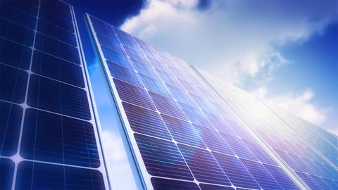Solar Panels Sky Panorama (Loop) Stock Video Footage