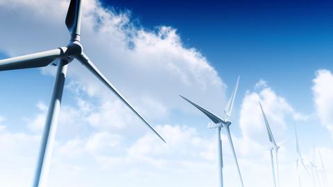 Wind Turbines Clouds (Loop) Stock Video Footage