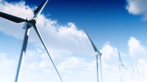 Wind Turbines Clouds (Loop) Animation