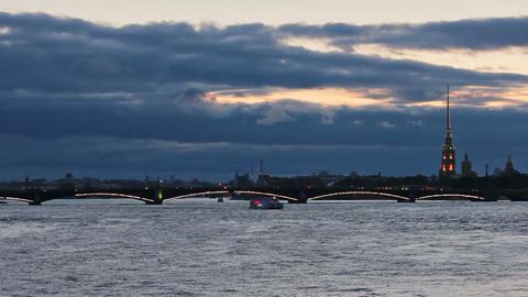 Trinity Bridge at dusk Stock Video Footage