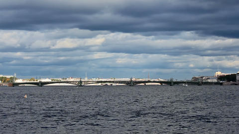 Trinity Bridge across the Neva River, timelapse Stock Video Footage