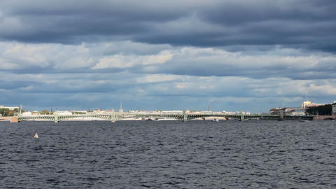 Trinity Bridge across the Neva River, timelapse Footage