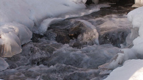 Winter river in Utoro,Siretoko Hokkaido,Japan_2 Stock Video Footage