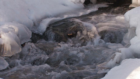 Winter river in Utoro,Siretoko Hokkaido,Japan_2 Stock Video Footage