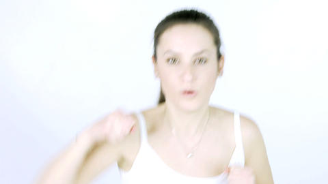 Young woman trying to punch and boxe Stock Video Footage